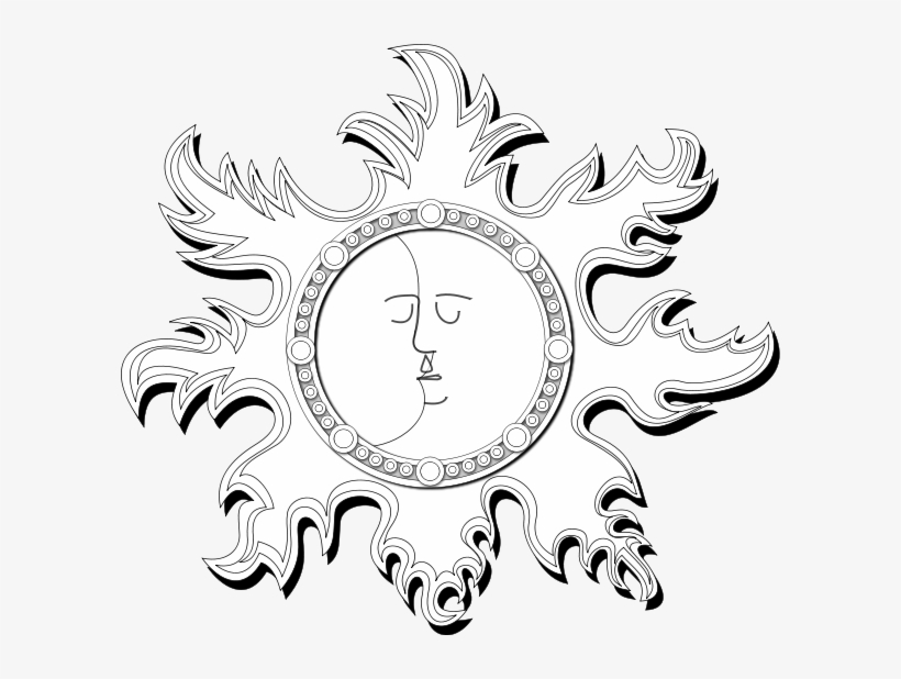 Sun And Moon Outline Clipart Image