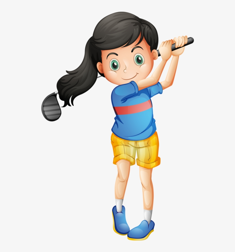 Golf Clipart Golf Shoe Little Girl Playing Golf Cartoon Png Image Transparent Png Free Download On Seekpng