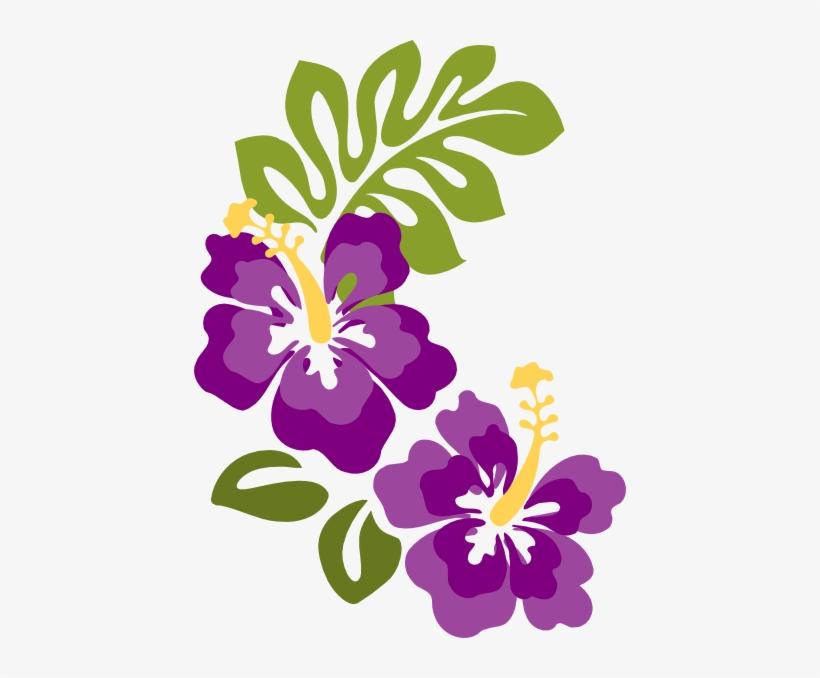 Pair Of Hibiscus Flowers Png Purple Hawaiian Flower Clipart Png