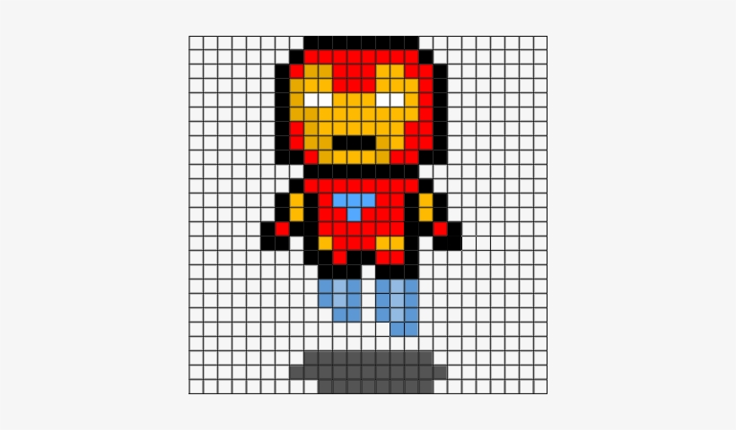 Flying Iron Man Helpful Grid Dessin Pixel Art Iron Man