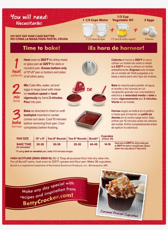 Betty Crocker Red Velvet Cake Box Instructions Png Image