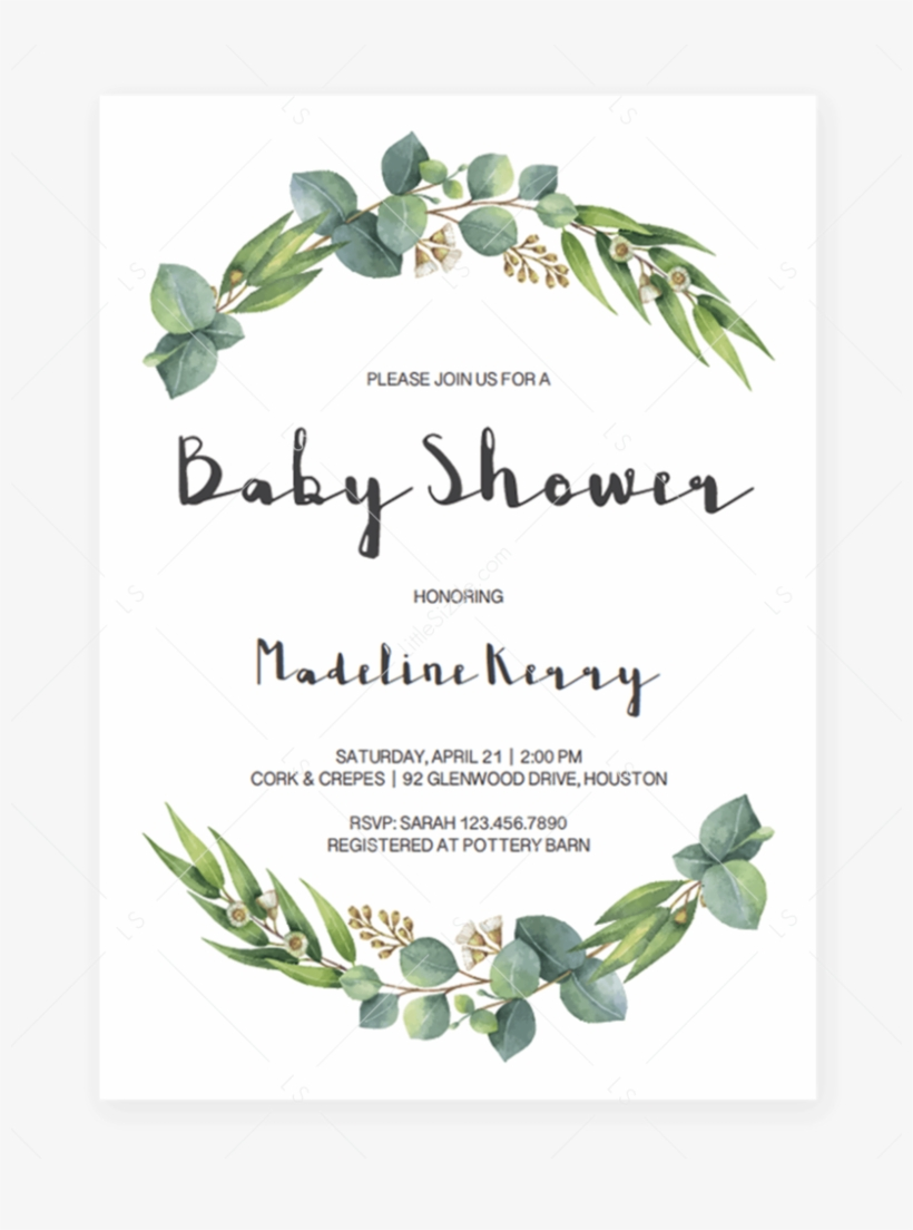 Eucalyptus Baby Shower Invitation Download By Littlesizzle