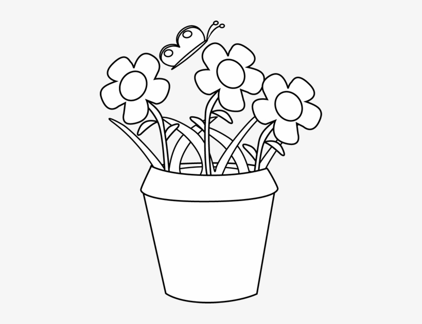 Black And White Gardening Flower Pot Clip Art Transpa