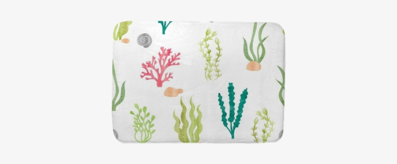Watercolor Seamless Pattern With Corals Seaweeds Balik Resmi