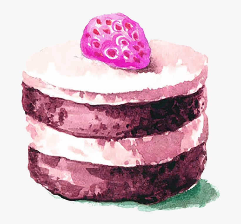 Pastry Drawing Watercolor - Water Color Png Chocolate Cake