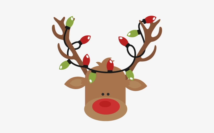 Free Christmas Lights Svg.Reindeer With Christmas Lights Svg Cutting Files For