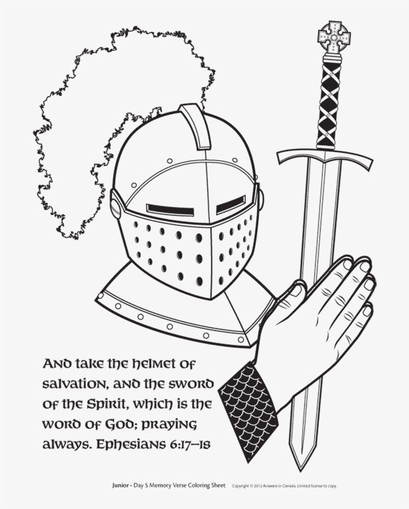 Free Sword Of The Spirit And Helmet Of Salvation Coloring Helmet Of Salvation Coloring Sheet Png Image Transparent Png Free Download On Seekpng