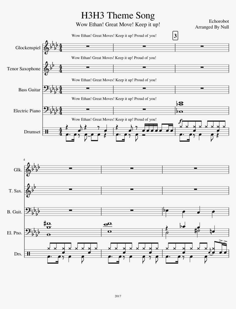 H3h3 Theme Song Sheet Music For Piano, Percussion, - Disney