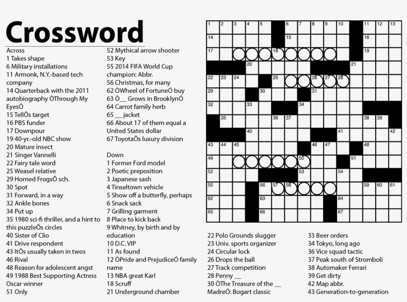 image about Printable Celebrity Crossword Puzzles titled Companies January Smu Everyday Campus Png Dividing Line
