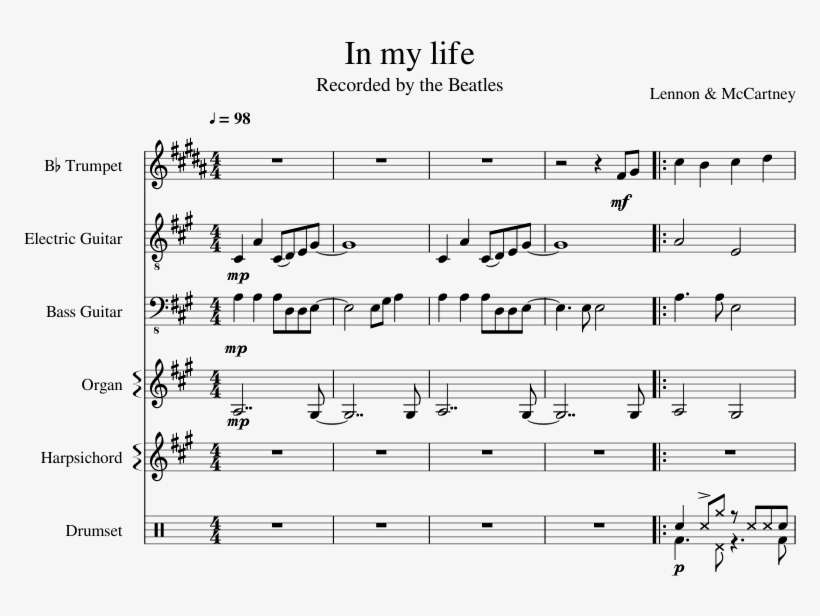 In My Life The Beatles Sheet Music For Trumpet, Guitar, - Shape Of