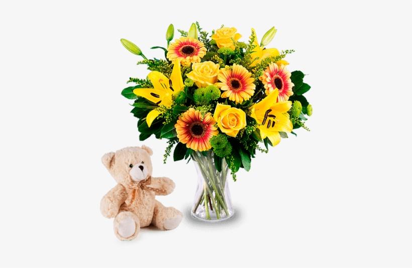 Fiori Gialli Mazzo.Roses Lilies With Free Teddy Mazzo Di Fiori Gialli Png Image