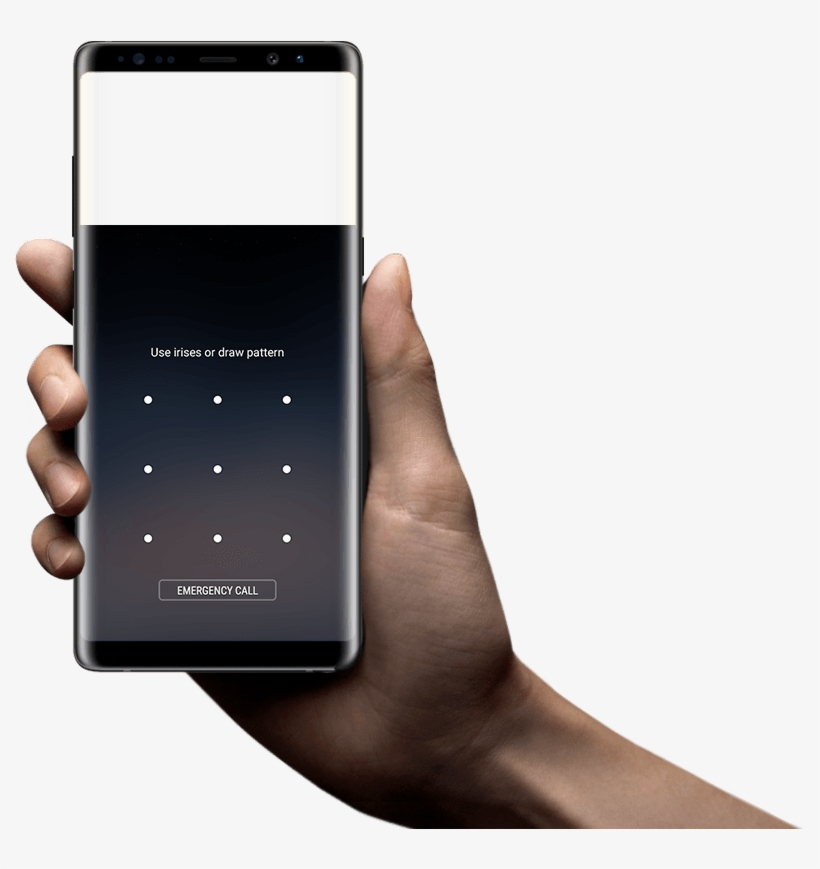 Hand Holding Galaxy Note8 To Scan Irises - Holding Samsung