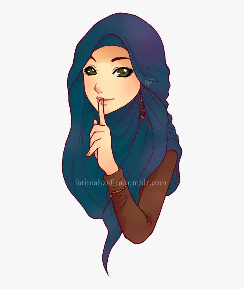 Beautiful fashion girl hijab muslimah style veil cartoon woman with hijab