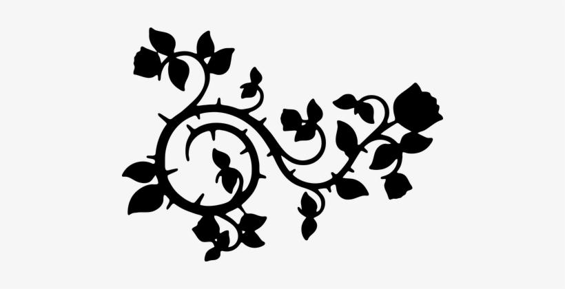 new concept 88de7 a6708 Roses Flowers Floral Swoosh Flourish Decor - Black And White Vine Vector