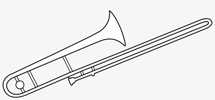 Trombone Line Art - Trombone Colouring Pages PNG Image ...