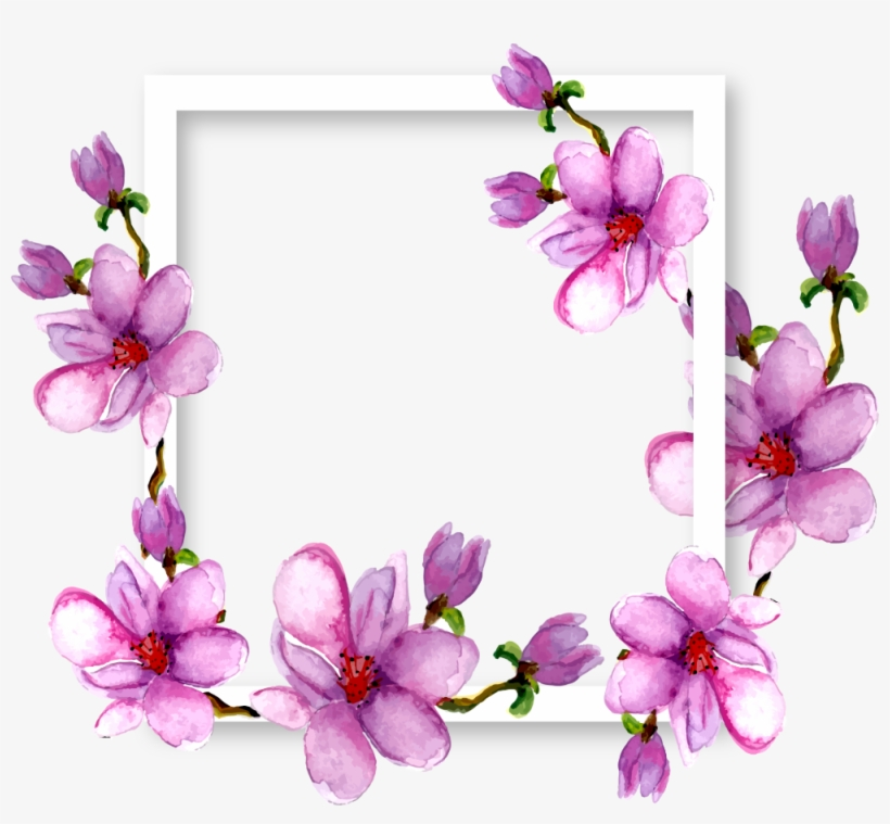 Flowers Magnolia Border Frame Watercolor Purple Ftestic