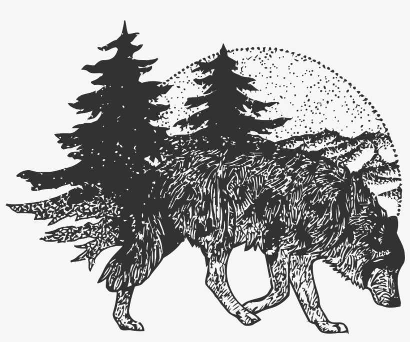 T Shirt Tattoo Vector Wolf Forest Free Frame Clipart Lobo Com