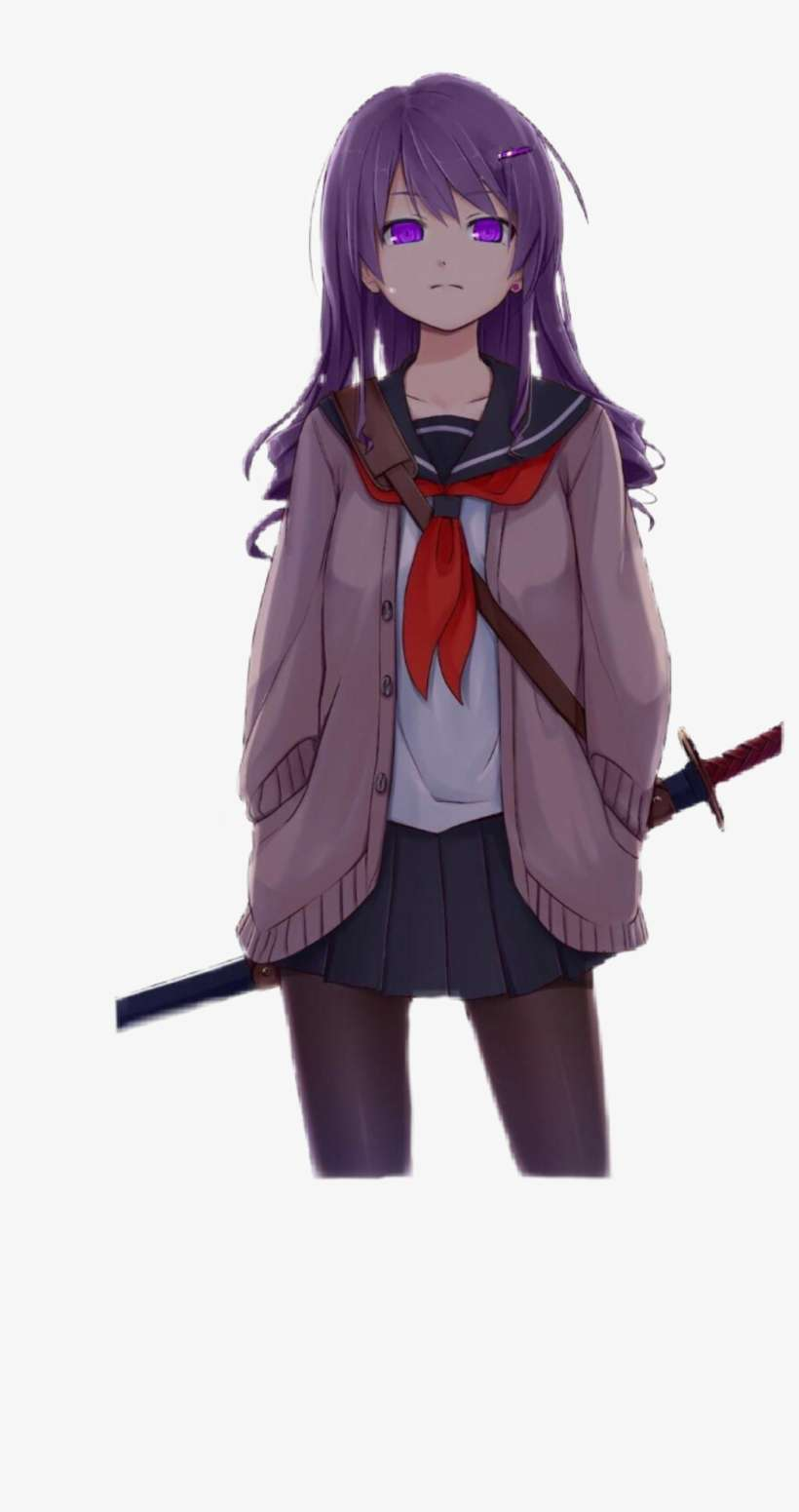 Yuri Sticker - Anime School Girl With Sword PNG Image