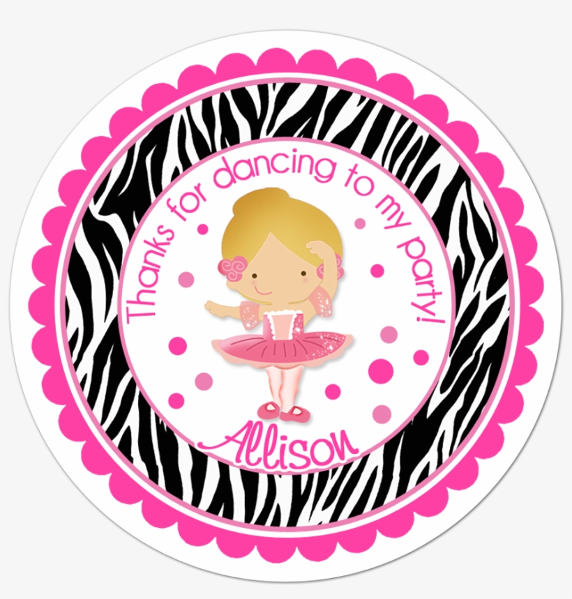 Ballerina Wide Zebra Print Border Personalized Sticker Barbie Thank You Tags Png Image Transparent Png Free Download On Seekpng