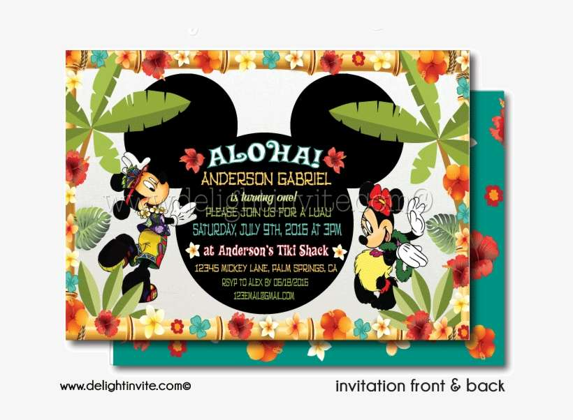 Mickey And Minnie Hawaiian Luau Birthday Invitation