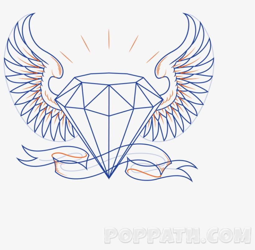 Drawn Diamonds Transparent Diamante Com Asas Desenho Png