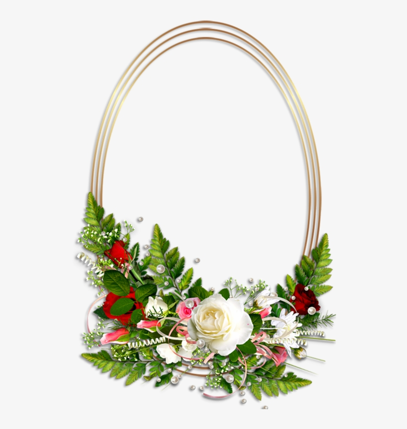 Oval Transparent Photo Frame With Flowers Oval Frame, - Flower Photo Frames Png