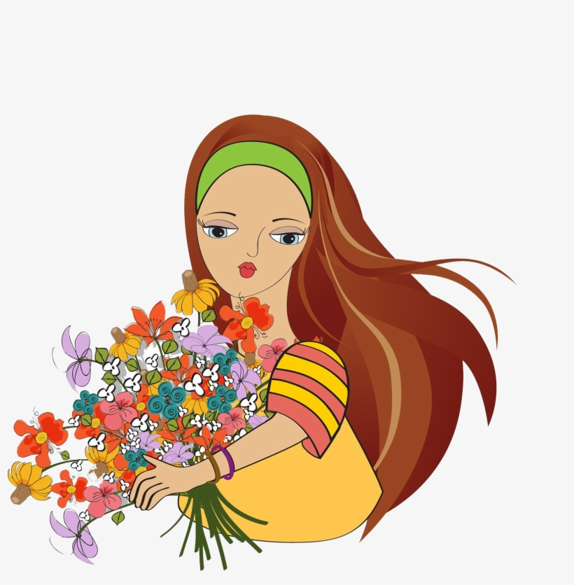 Cartoon Flower Stock Clip Art Holding The Mulher Com Flores Png