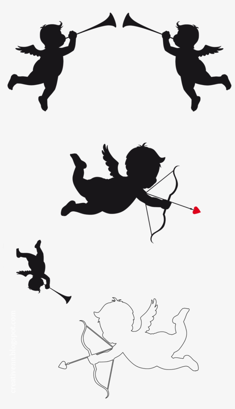 Cupid with Heart Silhouette PNG Clip Art Image | Gallery Yopriceville -  High-Quality Images and Transparent PNG Free Clipart