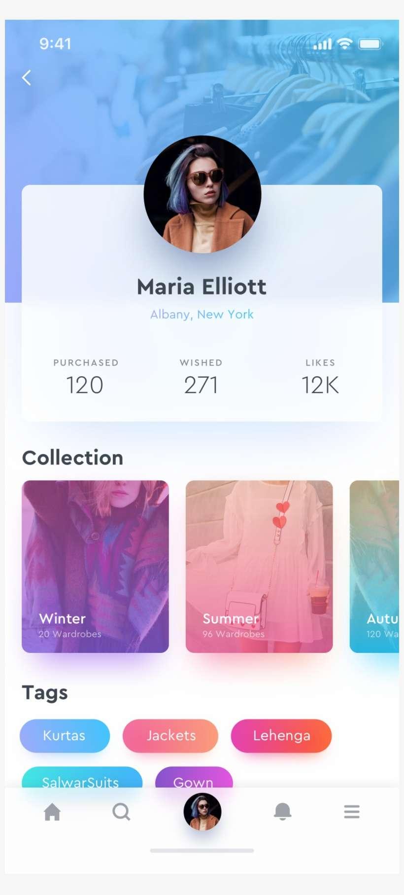 Fashion Profile 2x - Profile Page Mobile App Design PNG