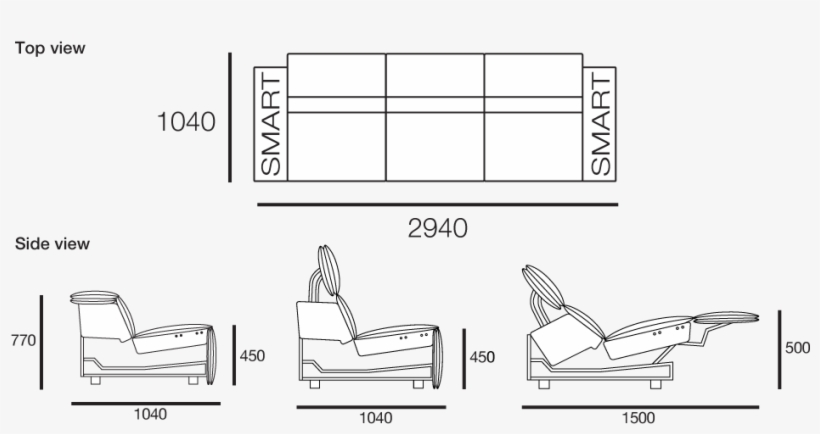 View All Configurations Sofa Side View Drawing Png Image