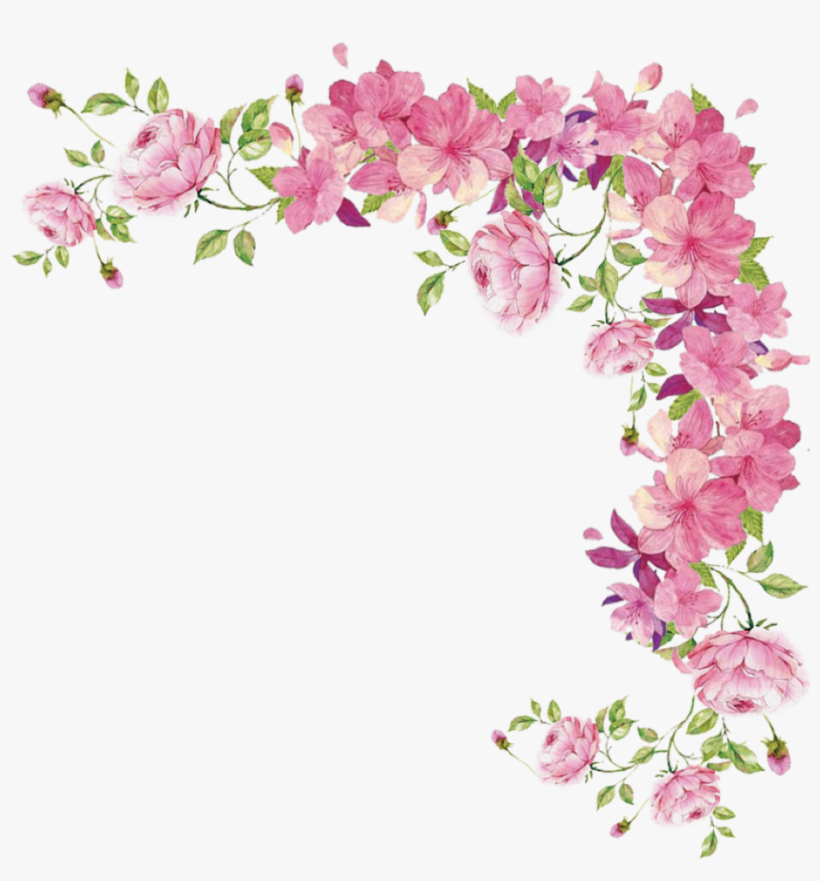 Watercolor Flowers Transparent Pink Flower Border Png Png