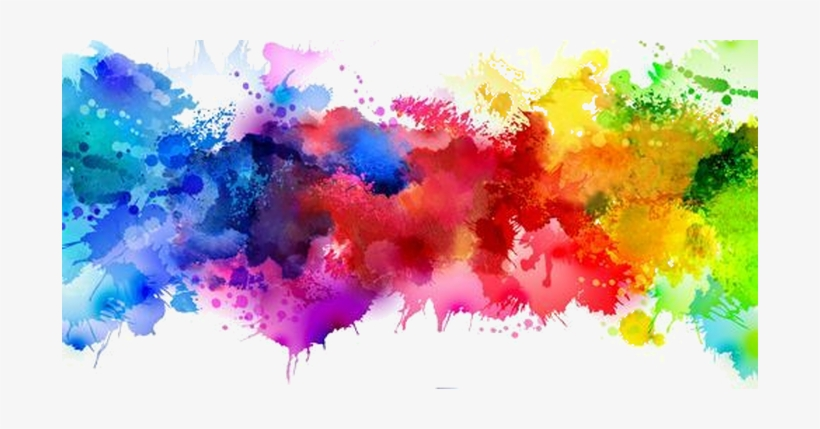 Color Painting Watercolor Splash Background Color Clipart: Multicolor Watercolor Splash Background
