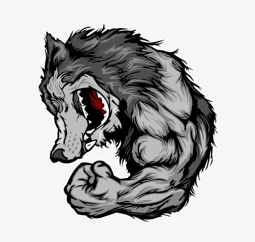 Mascote Lobo Wolf Mascot Flexing Arm Png Image Transparent Png