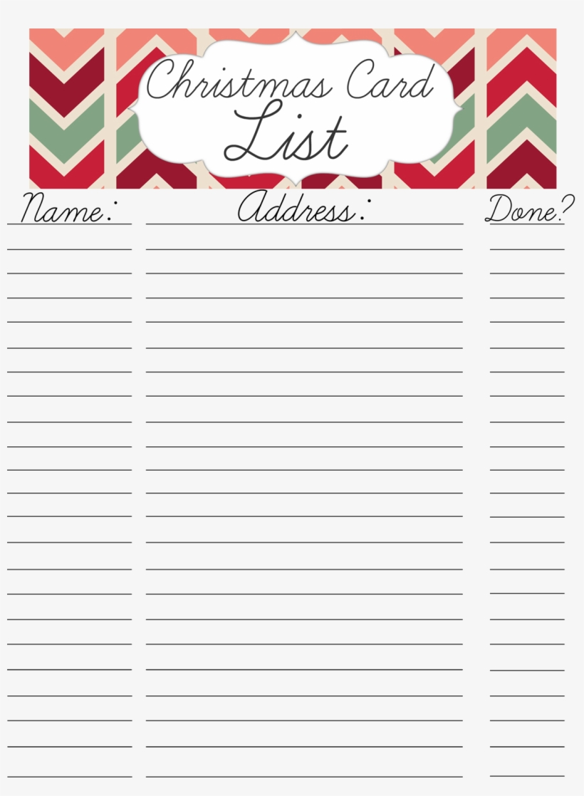 graphic about Printable Christmas Card List named Printable Xmas Card Go over Record With Template