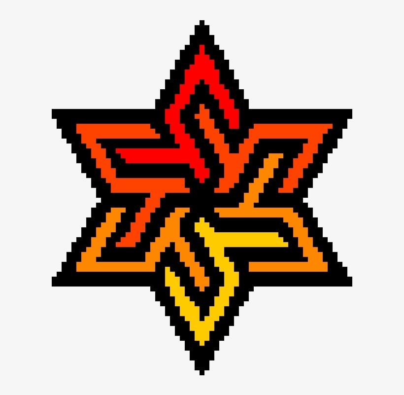 Fire Flower Example Of Pixel Art Png Image Transparent