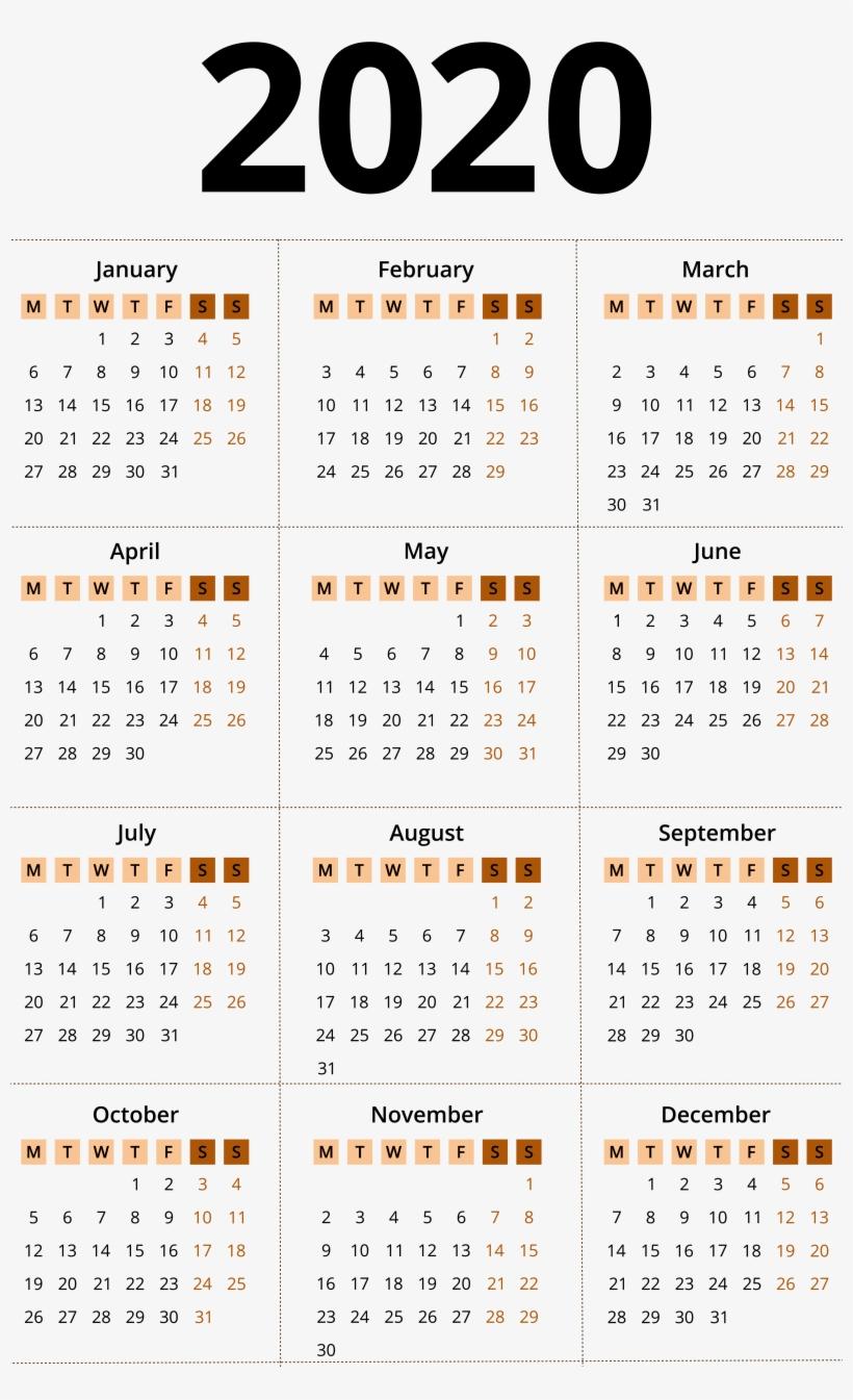 Mini Calendario 2020 Png.2020 Calendar Png Simple 2020 Calendar Template Png Image
