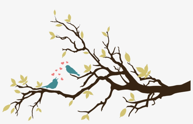 Love Birds On A Branch Free Hand Wall Painting Designs Png Image