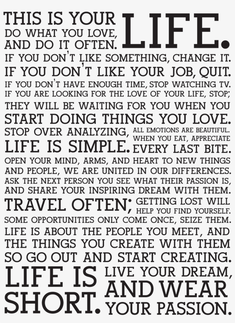 Life Changing Quotes Life Do What You Love Png Image Transparent Png Free Download On Seekpng