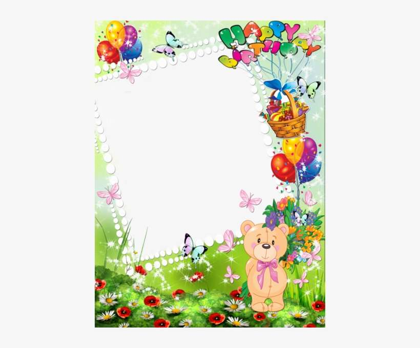 Happy Birthday Kids Transparent Photo Frame With Cute Happy