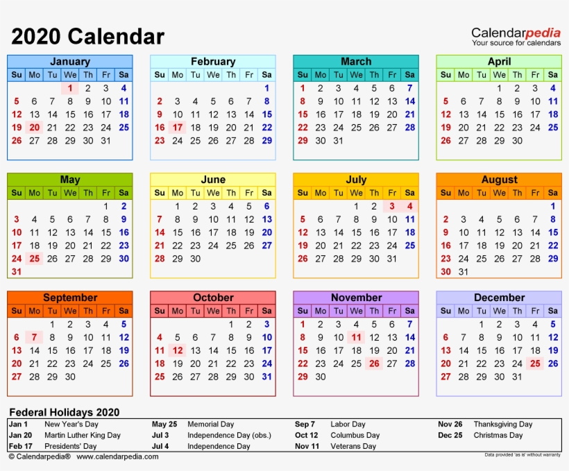 Mini Calendario 2020 Png.2020 Calendar Png Clipart Free Printable 2020 Calendar