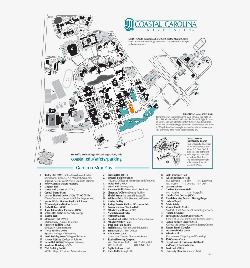Coastal Carolina Campus Map Colored Ccu Map   Coastal Carolina University Campus Map PNG Image