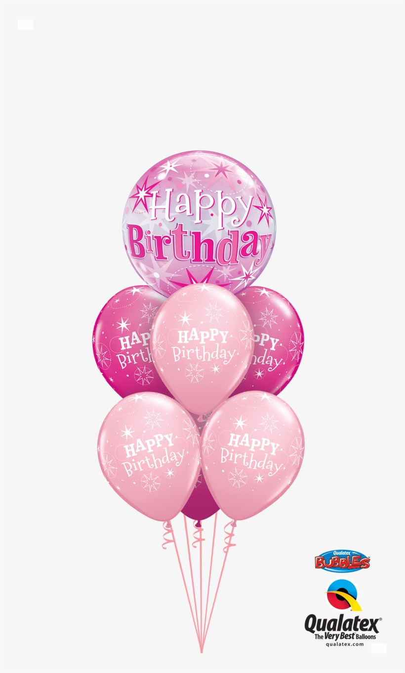 Pink Starburst Birthday Bubble Bouquet Happy 40th Birthday Balloon Bouquet Png Image Transparent Png Free Download On Seekpng