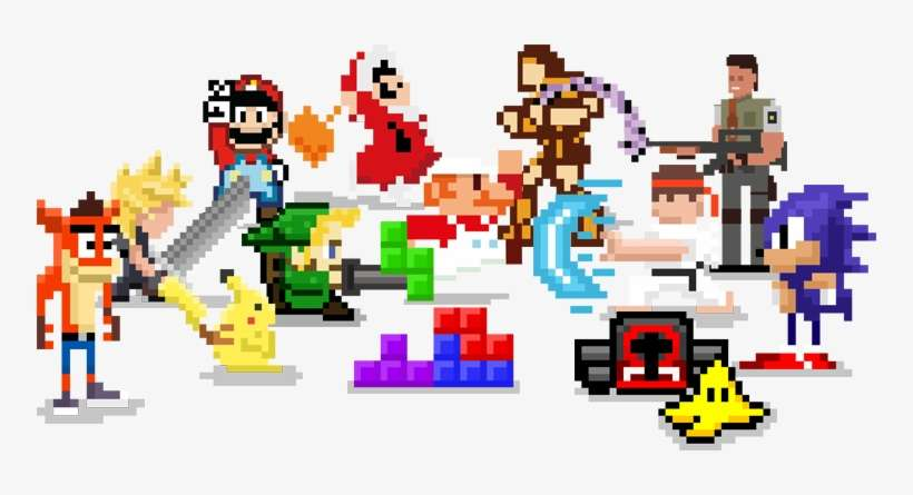Game Character Montage - Retro Games Transparent PNG Image