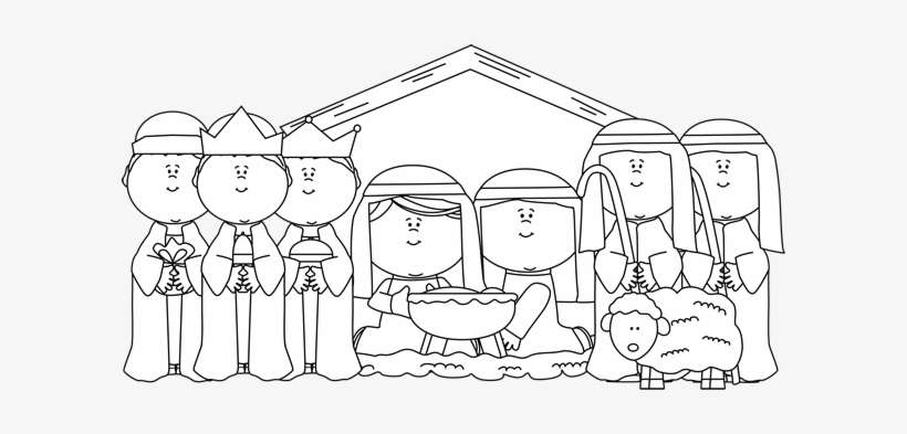Black And White Nativity With Shepherds And Wise Men Nativity Scene Clipart Black And White Png Image Transparent Png Free Download On Seekpng