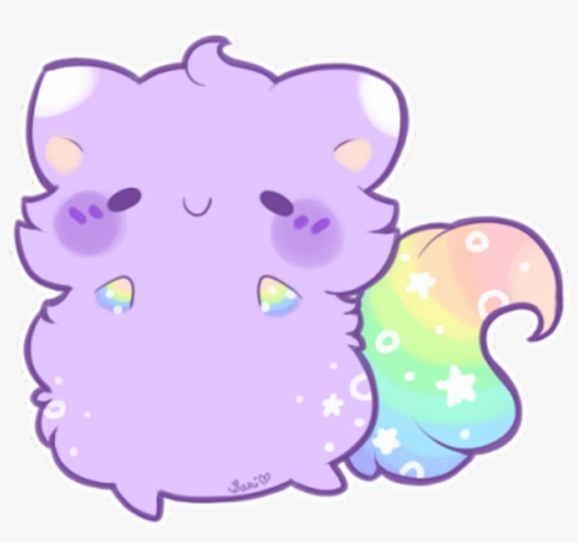 Purple Rainbow Blush Cat Kitty Kawaii Cute Kawaiicute