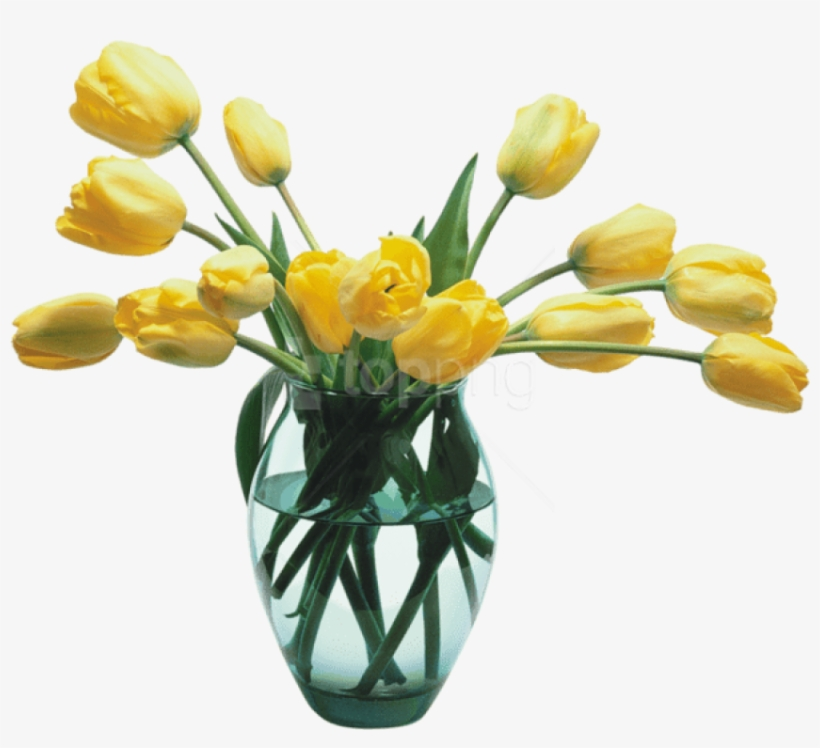 Download Glass Vase With Yellow Tulips Png Images Background Transparent Flower Vase Png Png Image Transparent Png Free Download On Seekpng