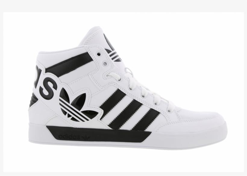 Mens Adidas Hardcourt Hi Big Logo White Leather Trainers - Adidas ...