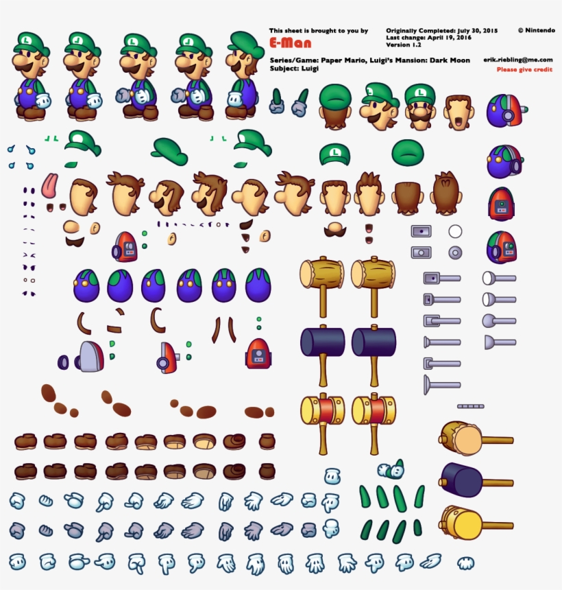 Mario Sprite Sheet Png Jpg Free Luigi Paper Mario Sprite Png