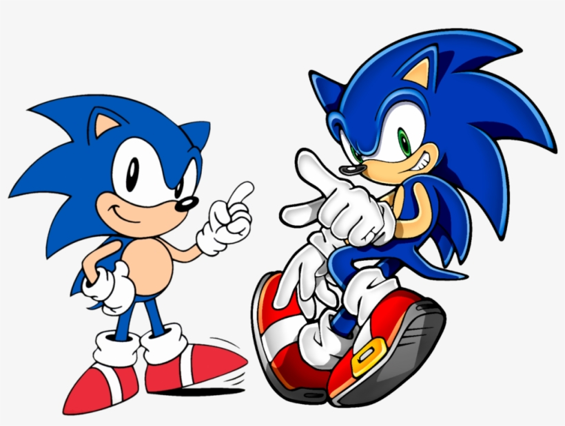 Classic Sonic And Modern Sonic Right Sonic The Hedgehog Clipart Png Image Transparent Png Free Download On Seekpng