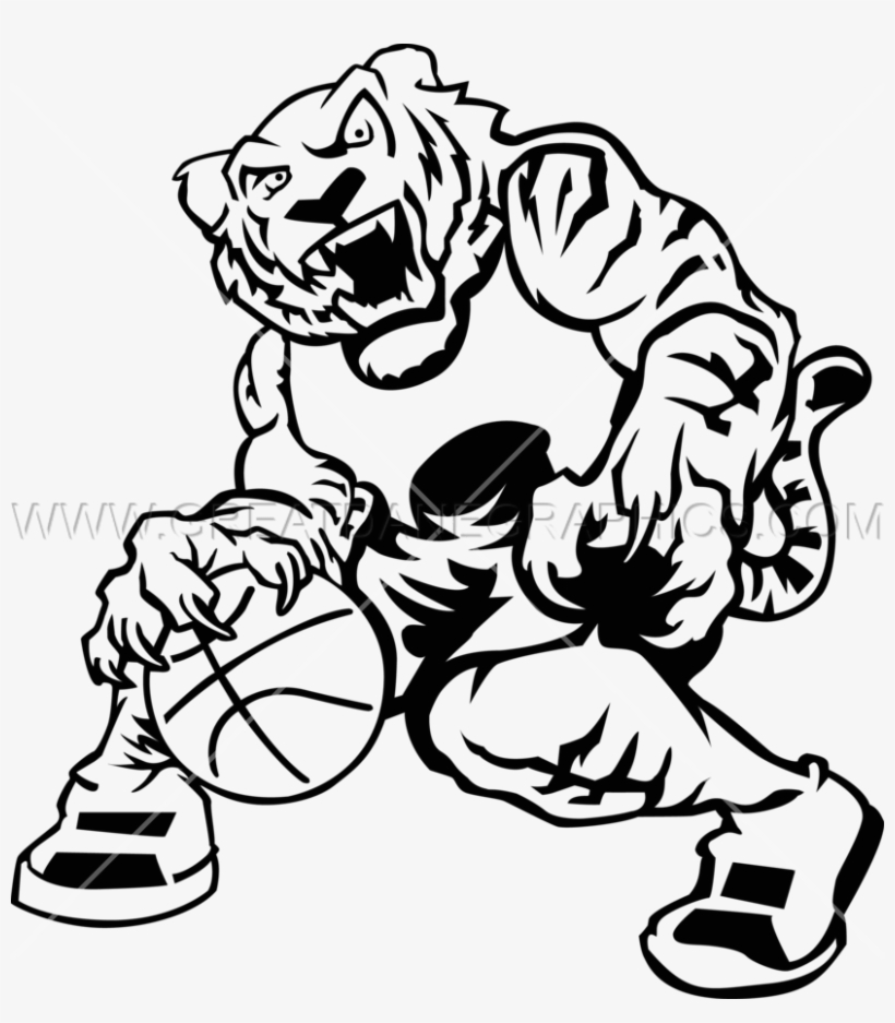 Basketball Tiger - Tiger Basketball Clipart Black And White
